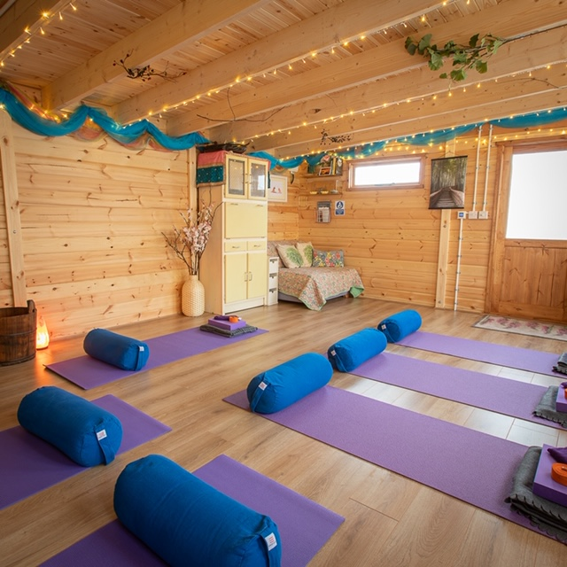 View of Yoga Studio set up for a Yin Yoga class